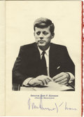 Autographs:U.S. Presidents, John F. Kennedy Luncheon Menu Program Photograph Signed... (Total:4 Items)