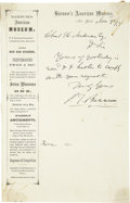 Autographs:Celebrities, P. T. Barnum Autograph Letter Signed....