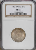 Coins of Hawaii: , 1883 25C Hawaii Quarter MS66 NGC. NGC Census: (48/5). PCGSPopulation (62/9). Mintage: 500,000. (#10987)...