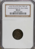 Colonials: , 1652 6PENCE Pine Tree Sixpence MS63 NGC. Noe-33. PCGS Population(2/1). (#22)...