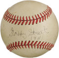 Autographs:Baseballs, 1941 Gabby Street Single Signed Baseball. Super-tough single iseverything a serious Cardinals collector could hope for, pr...