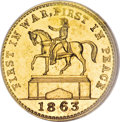 Civil War Patriotics, Uniface Gold Restrike 1863 First In War, Fuld-173/0l, R.10, MS63NGC....
