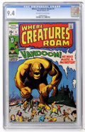 Bronze Age (1970-1979):Horror, Where Creatures Roam #4 (Marvel, 1971) CGC NM 9.4 Off-white towhite pages....