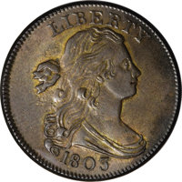 1803 1C Small Date, Small Fraction. MS63 Brown PCGS. S-251, B-8, R.2....(PCGS# 36368)