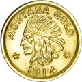 California Gold Charms, 1914 Montana Gold Half Dollar and One Dollar Coins of the West.... (Total: 2 coins)