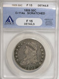 Bust Half Dollars, 1809 50C --Scratched--ANACS. Fine 15 Details. O-114a . NGC Census: (1/374). PCGS Population (12/341). Mintage: 1,405,810. Nu...