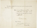 Autographs:U.S. Presidents, Benjamin Harrison Presidential Document Signed...