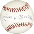 Autographs:Baseballs, Mickey Mantle Single Signed Baseball. The blue ink autograph of the most loved New York Yankee of all time resides on the s...