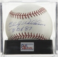 """Autographs:Baseballs, Billy Williams """"H.O.F. '87"""" Single Signed Baseball, PSA Gem Mint10. Cubs legend Billy Williams makes note of his Hall of Fa..."""