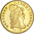 Early Half Eagles, 1802/1 $5 --Cleaned--ANACS. AU55 Details....