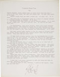Books:Signed Editions, Kurt Vonnegut, Jr. Typed Slaughterhouse Five Manuscript PageSigned. . ...