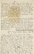 "Autographs:Authors, H. P. Lovecraft. Autograph Letter with Great Content. First fourpages of a longer letter, 5.75"" x 9"", n.p. [Providence, Rho..."