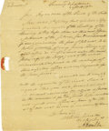 "Autographs:Statesmen, Alexander Hamilton Letter Signed ""A Hamilton"" as Secretaryof the Treasury. ..."