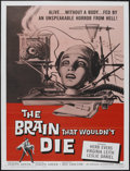 "Movie Posters:Horror, The Brain That Wouldn't Die (American International, 1962).Tri-folded One Sheet (27"" X 41""). Horror...."