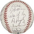 Autographs:Baseballs, 2002 St. Louis Cardinals Team Signed Baseball. The NL Centralchamps of the 2002 season are the subject here of the top-not...