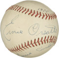 Autographs:Baseballs, Ernie Orsatti Single Signed Baseball. Ernie Orsatti led a variedlife up until his inclusion as a member of the St. Louis C...