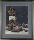 Boxing Collectibles:Autographs, Muhammad Ali Signed Oversized Photograph. Beautifully framed andmatted color photograph depicts one of the most famous ima...