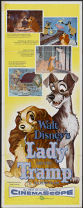 "Movie Posters:Animated, Lady and the Tramp (Buena Vista, 1955). Insert (14"" X 36""). Animated...."