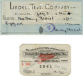 Autographs:Checks, 1940s Stan Musial Signed Personal Check with Rochester Red WingsSeason Pass. Exceptional pair of mementos from the 1940s i...