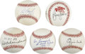 Autographs:Baseballs, St. Louis Cardinals Stars and Hall of Famers Single SignedBaseballs Lot of 5. Brilliant collection of single signed orbs c...