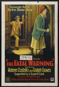 """The Fatal Warning (Mascot, 1929). One Sheet (27"""" X 41"""") Episode 6--""""Into Thin Air."""" Serial"""