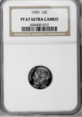 Proof Roosevelt Dimes: , 1959 10C PR67 Deep Cameo NGC. . NGC Census: (14/16). PCGSPopulation (14/27). Numismedia Wsl. Price for NGC/PCGS coin in P...
