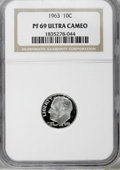 Proof Roosevelt Dimes: , 1963 10C PR69 Deep Cameo NGC. . NGC Census: (116/0). PCGSPopulation (186/0). Numismedia Wsl. Price for NGC/PCGS coin in P...