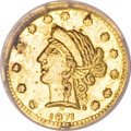 California Fractional Gold, 1871 25C Liberty Round 25 Cents, BG-864A, R.8, MS61 NGC....