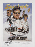 Autographs:Others, Dale Earnhardt and Richard Petty Single Signed Lithographs Lot of2. Acclaimed artist Jeane Barnes created lithographs of t...