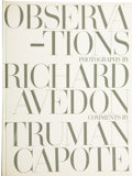 Books:First Editions, Observations. Photographs by Richard Avedon. Comments byTruman Capote. New York: Simon and Schuster Publishers, [19...