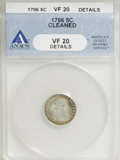 Early Half Dimes, 1796 H10C --Cleaned--ANACS. VF20 Details....