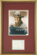 "Movie/TV Memorabilia:Autographs and Signed Items, John Wayne Autograph Display with Photo. A great John Wayne autograph cut reading ""To Karen, John Wayne"" in black ballpoint.... (Total: 1 Item)"