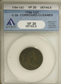1794 1/2 C --Corroded, Cleaned--ANACS. VF20 Details