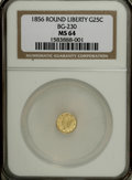 California Fractional Gold: , 1856 25C Liberty Round 25 Cents, BG-230, Low R.4, MS64 NGC. . NGCCensus: (2/2). PCGS Population (18/3). (#10415)...