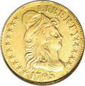 Early Half Eagles, 1795 $5 Small Eagle--Removed From Jewelry--NCS. XF Details....