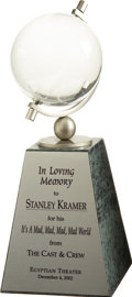 Movie/TV Memorabilia:Awards, Stanley Kramer's Memorial Gift from Cast of It's a Mad, Mad, Mad, Mad World. Presented posthumously to Stanley Kramer in... (Total: 1 Item)