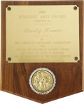 "Movie/TV Memorabilia:Awards, Stanley Kramer's 1989 Humanist Arts Award. In 1989, Stanley Kramer was presented the Humanist Arts Award for ""Applying his c... (Total: 1 Item)"