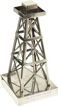 Movie/TV Memorabilia:Original Art, Oklahoma Crude Commemorative Gift to Stanley Kramer. An engraved silver-plated sculpture of an oil derrick, given to... (Total: 1 Item)