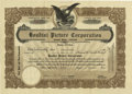 Movie/TV Memorabilia:Autographs and Signed Items, Houdini Picture Corporation Stock Certificate, Signed by Houdiniand Harry H. Poppe. A stock certificate of the Houdini Pict...(Total: 1 Item)