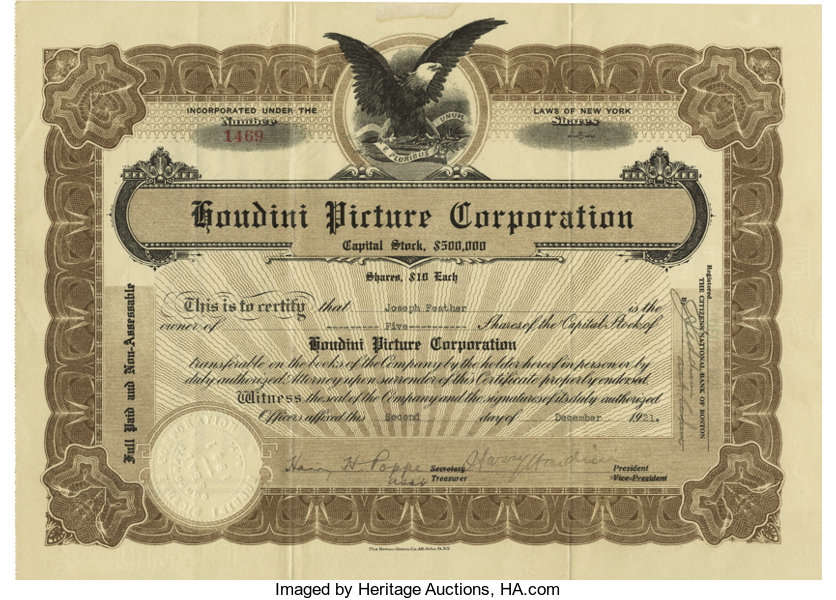 Houdini Picture Corporation Stock Certificate Signed By Lot