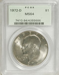Eisenhower Dollars: , 1972-D $1 MS64 PCGS. . PCGS Population (651/1200). NGC Census: (148/897). Mintage: 92,548,512. Numismedia Wsl. Price for NG...