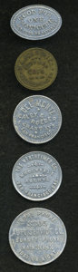20th Century Tokens and Medals, Quintet of California Merchant Tokens.... (Total: 5 tokens)