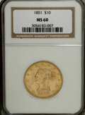 Liberty Eagles: , 1851 $10 MS60 NGC. . NGC Census: (5/15). PCGS Population (1/10).Mintage: 176,328. Numismedia Wsl. Price for NGC/PCGS coin ...