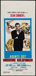 "Movie Posters:James Bond, Goldfinger (United Artists, R-1970s). Italian Locandina (13"" X 28""). James Bond...."