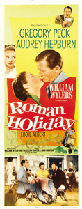 "Movie Posters:Romance, Roman Holiday (Paramount, 1953). Insert (14"" X 36"")...."