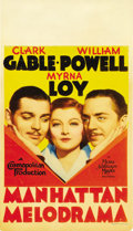 "Movie Posters:Crime, Manhattan Melodrama (MGM, 1934). Midget Window Card (8"" X 14"")...."