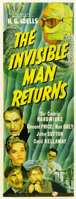 """The Invisible Man Returns (Universal, 1940). Insert (14"""" X 36"""")"""