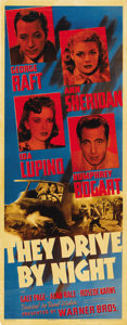 "Movie Posters:Drama, They Drive by Night (Warner Brothers, 1940). Insert (14"" X 36"")...."