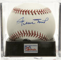 Autographs:Baseballs, Willie Mays Single Signed Baseball, PSA Gem Mint 10. Unimprovableentry from the Say Hey Kid. Ball has been encapsulated by...