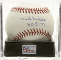"Autographs:Baseballs, Phil Niekro ""H.O.F. '97"" Single Signed Baseball, PSA Mint+ 9.5. Awizard of the knuckleball, Phil Niekro managed to ride his..."